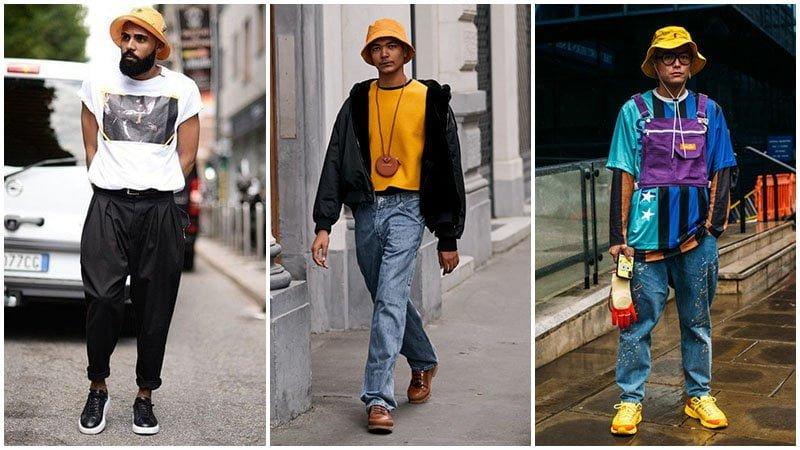 mix mũ bucket phong cách đường phố