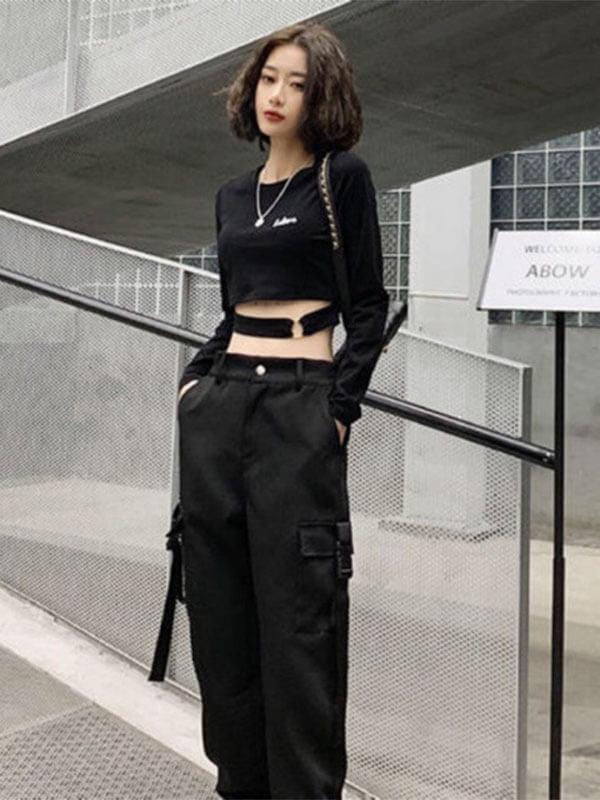 cool ngầu đồ cá tính nữ màu đen váy