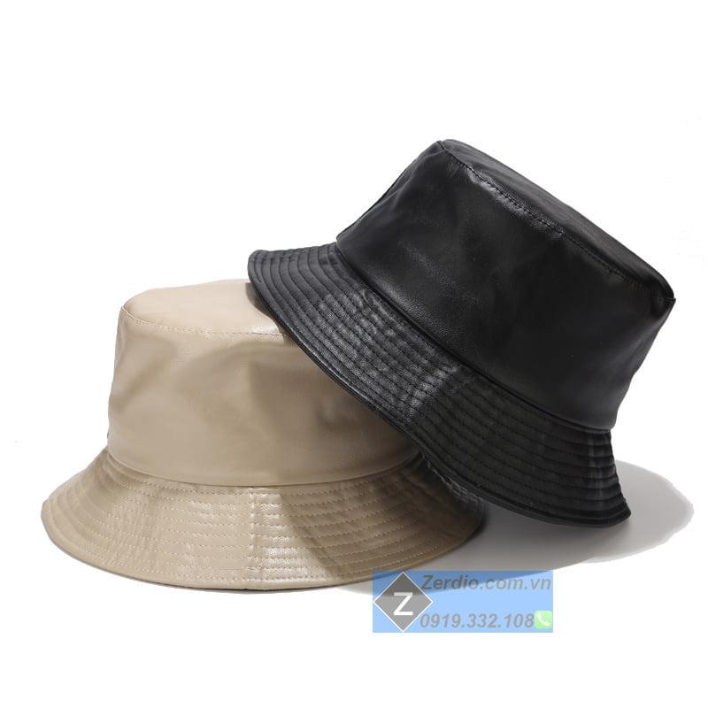 mũ bucket rộng vành da