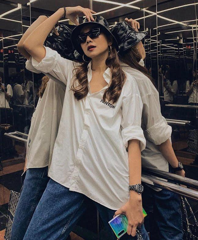 phối áo sơ mi và nón bucket