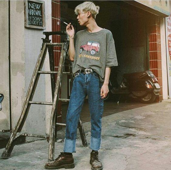 phối đồ với quần baggy với áo oversize