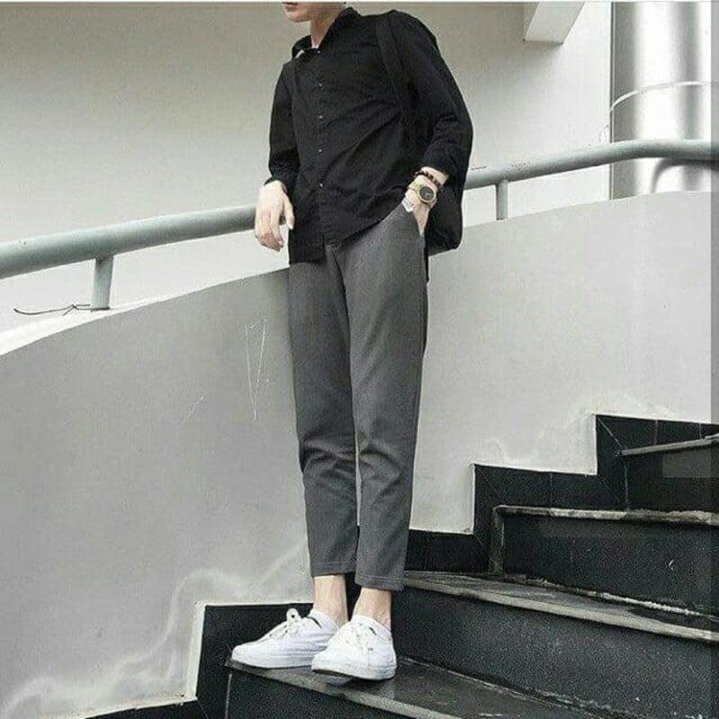 phối quần baggy nam với áo sơ mi