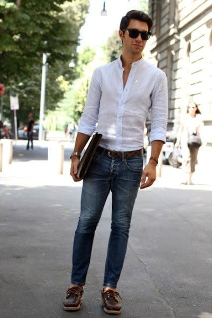 phối quần jean với áo sơ mi nam