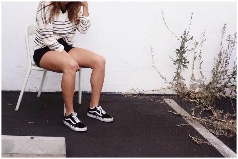 phối giày vans nữ với quần đùi